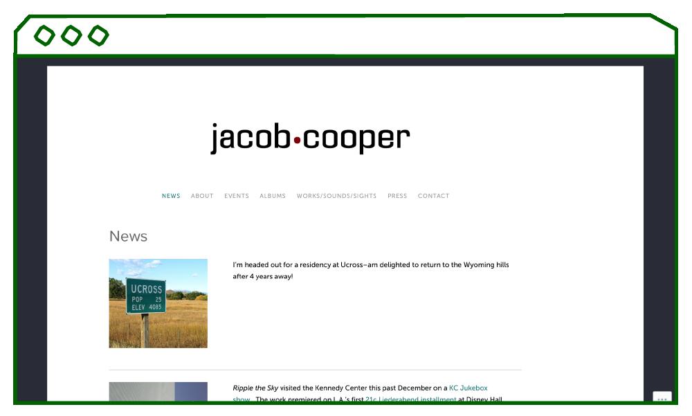 desktop display of homepage showing news