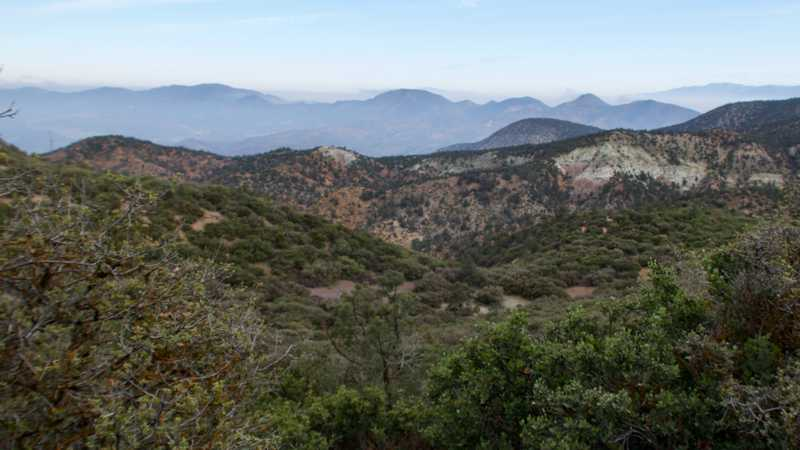 View of hazy, distant mountains