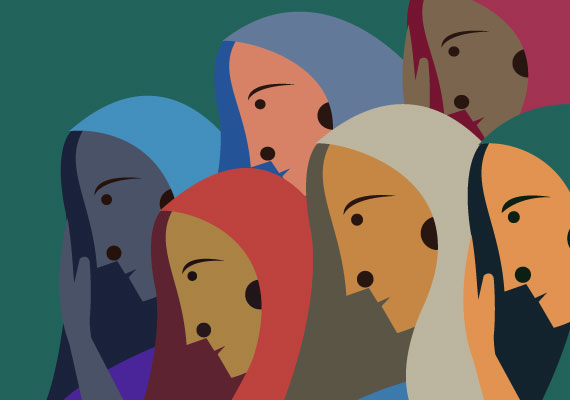 Vector art of Indian women representing the history of the abortion pill in India