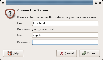 Glom screenshot: connecting to the database