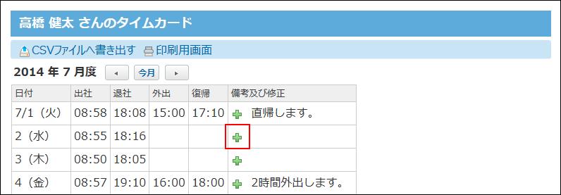 ユーザーのタイムカードの画面の画像