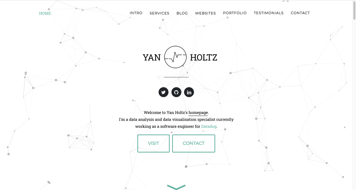 The homepage of Yan Holtz's data analytics portfolio