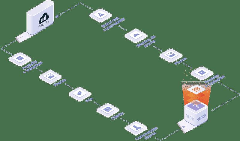 Objets et données manipulées dans l'intégration Sellsy : fichier client, produits et équipements, statut des commandes, niveaux de stock.