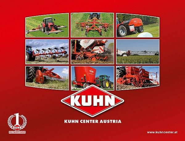 Image with the Kuhn logo and 9 smaller photos depicting Kuhn-manufactured agricultural machines