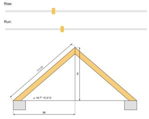 screenshot of myrooff.com showing their roof slope calculator