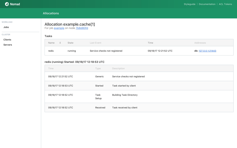 Nomad UI Alloc Status