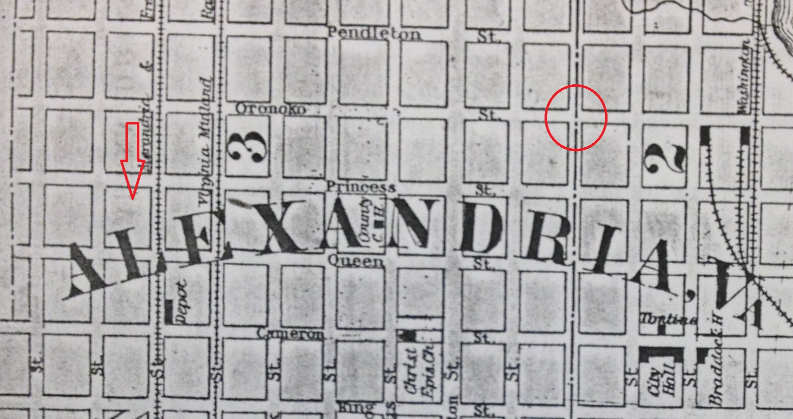 Map showing the suspected previous site of the house in relation to the current location at 1204 Princess Street