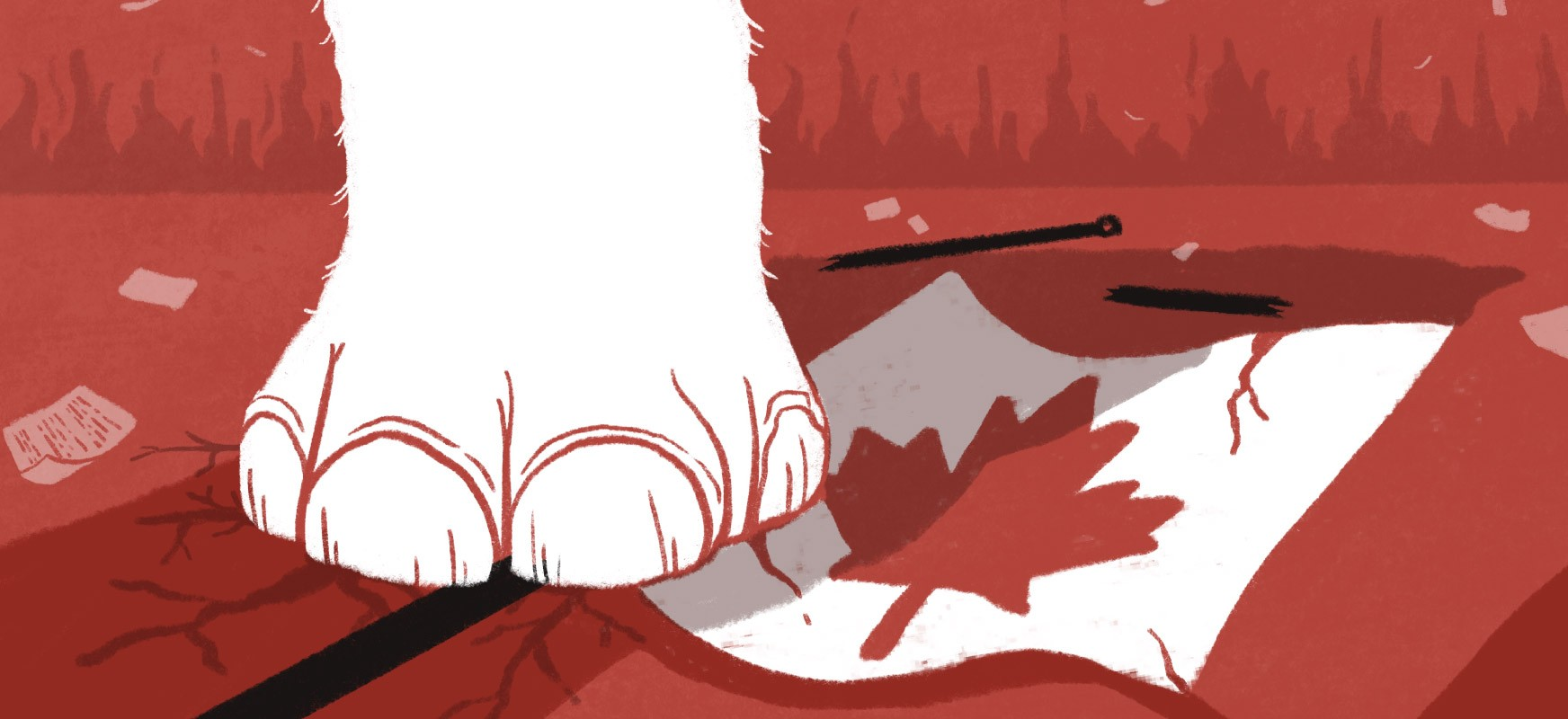 Illustration of a close up of a white elephant's foot stepping on a fallen Canadian flag to symbolize how white supremacy is dangerous to Canada.