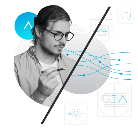 A composite graphic design of a photo of a man, geometric line art, and the Adcetera logo