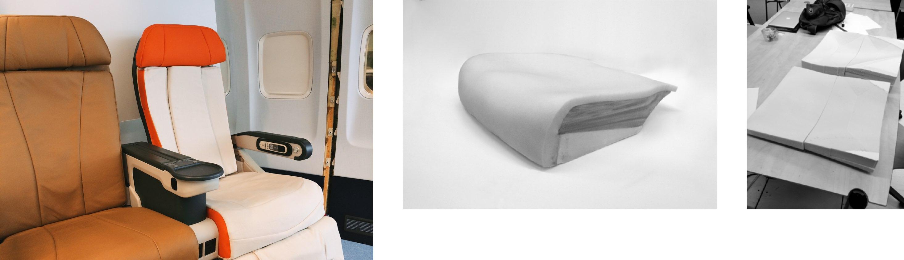 Seat prototype, seat pan foam prototype, back-rest contour prototype