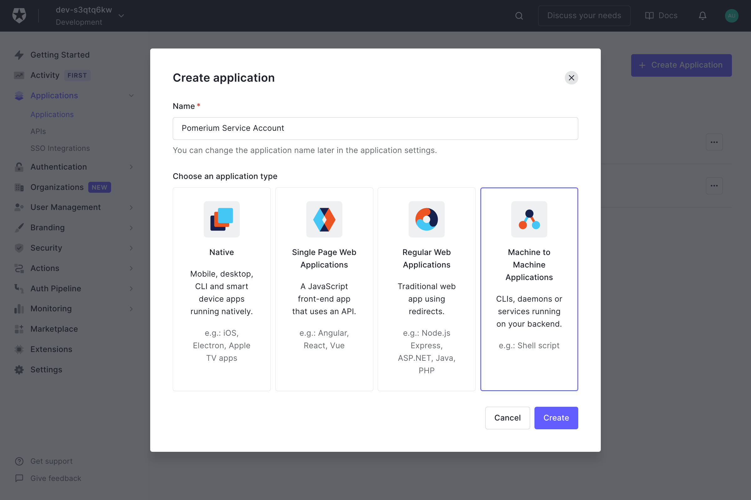 Auth Create Application Select Service Account Platform