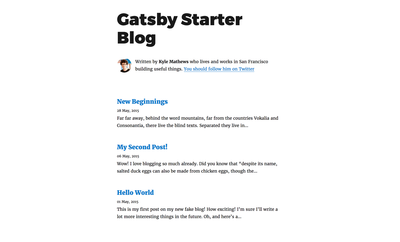 Screenshot of a page created with Gatsby starter blog