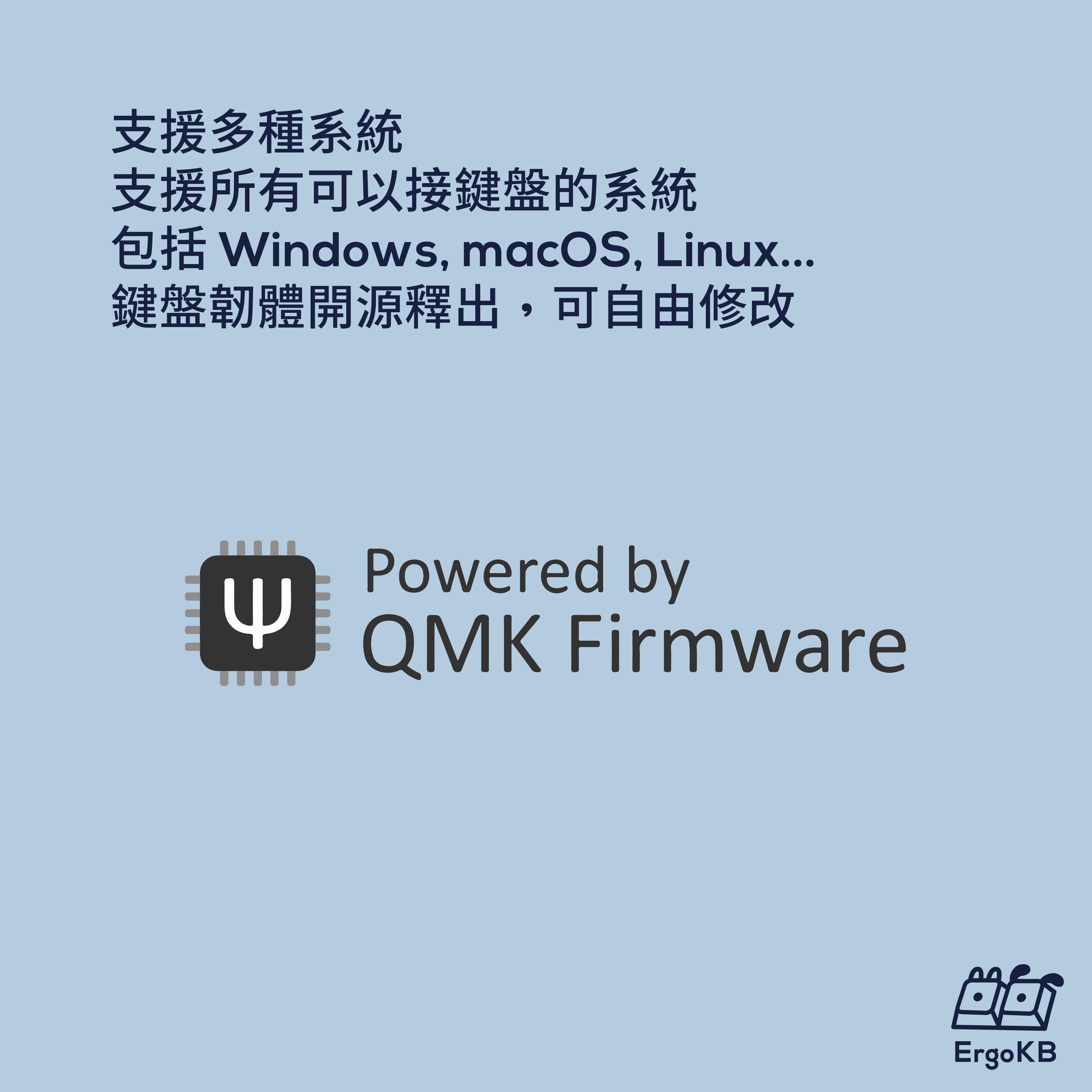 支援多種系統,支援所有可以接鍵盤的系統,包括 Windows, macOS, Linux...,鍵盤韌體開源釋出,可自由修改