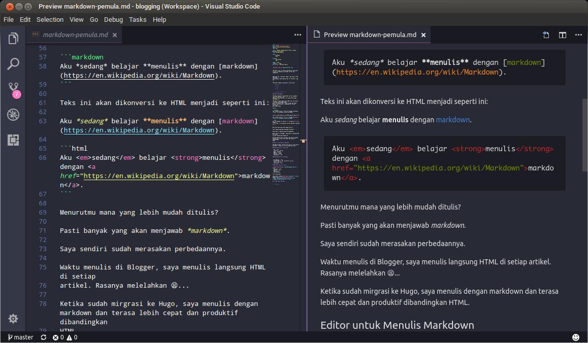 Gambar teks editor VS Code
