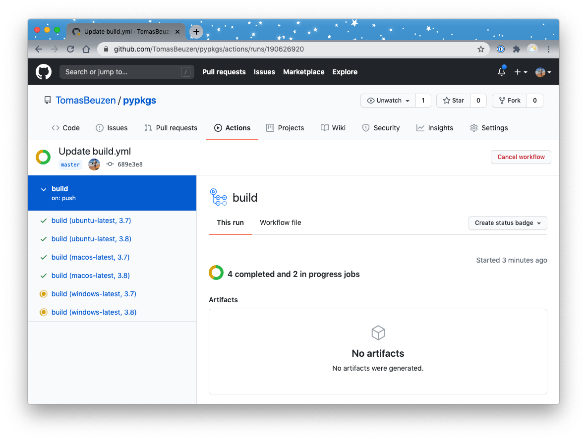 Continuous Integration (CI) pipeline running on GitHub, with 4 jobs completed and 2 in progress.