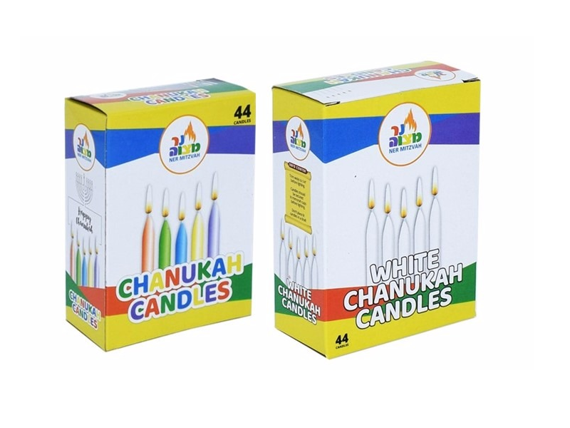 Ner Mitzvah White Chanukah Candles/Coloured Chanukah Candles (Pack 44 Candles)