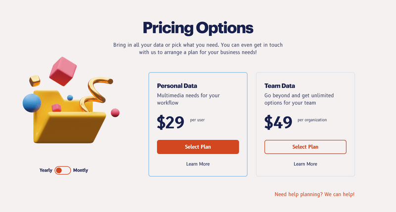 Price option website page