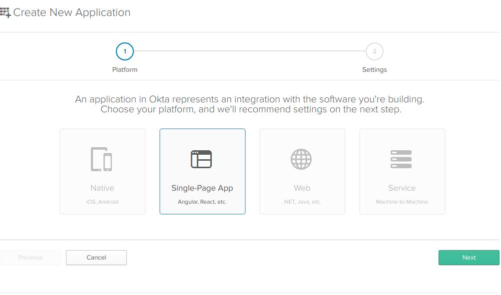 Okta new SPA app
