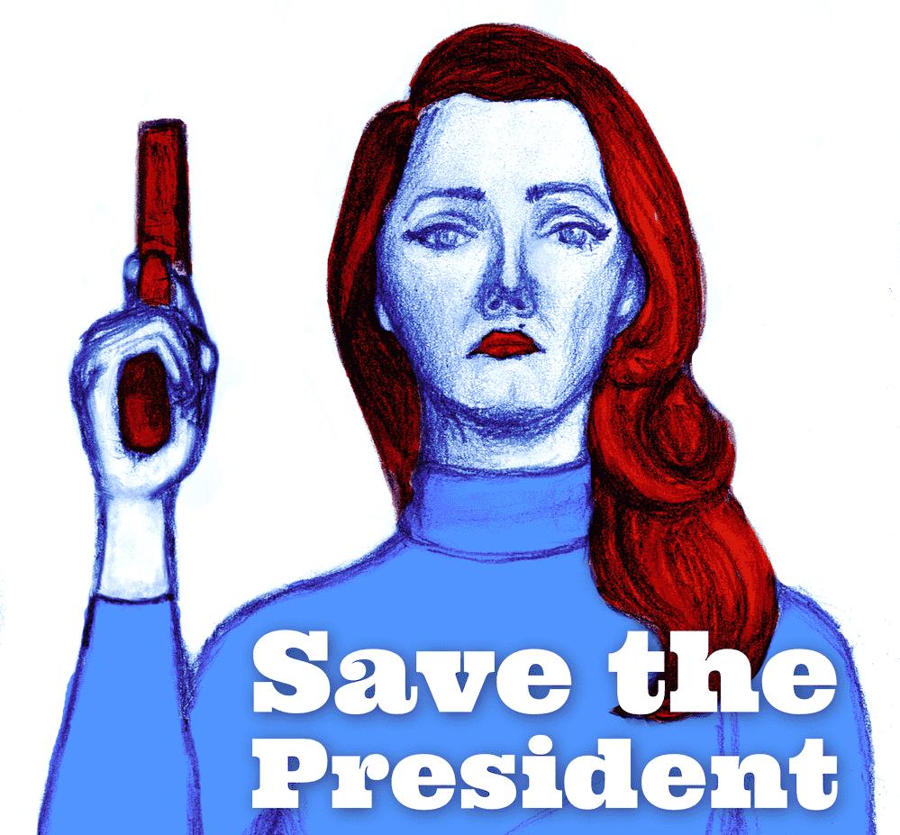 Titelillustration: Agentin mit erhobener Pistole und in blauroten Farbtönen