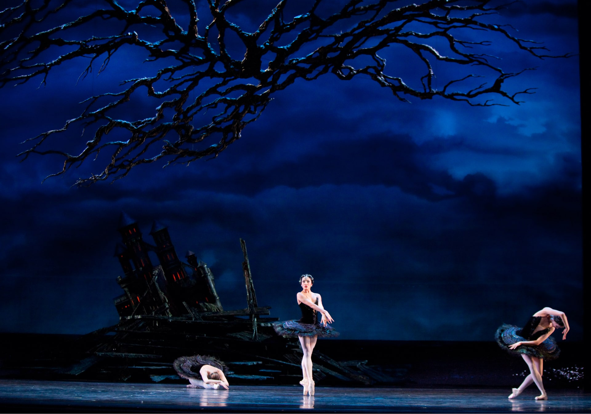 Three ballerinas in black tutus dance under craggy branches in front of teetering castle against dark blue clouds.
