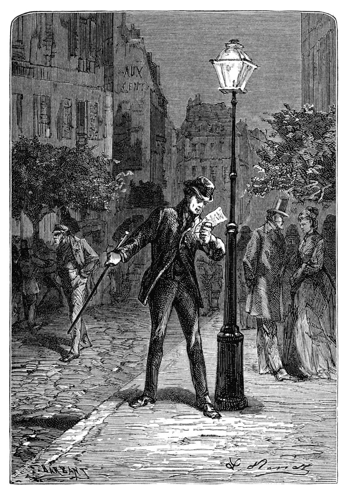 Under a streetlamp a man reads a letter