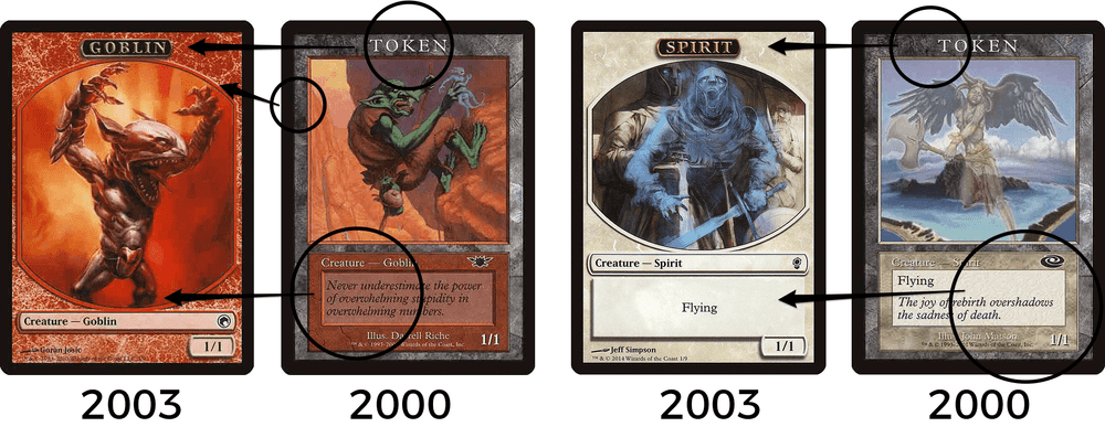 MTG modern token frame compared to 2000 player reward frame