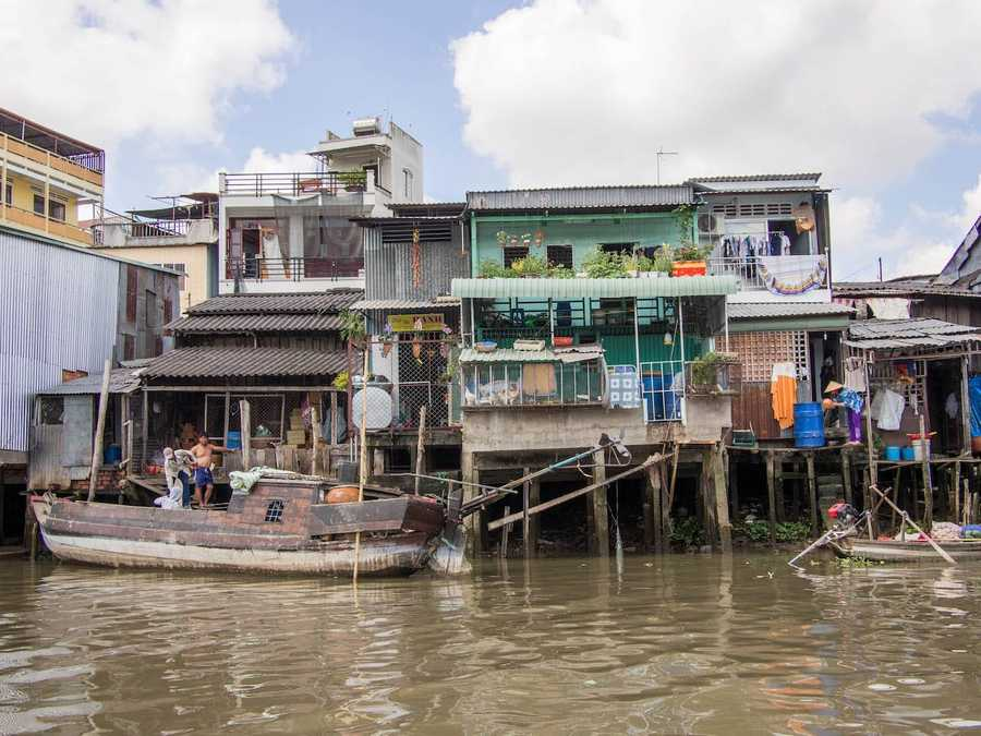 Houses built along the Mekong Delta