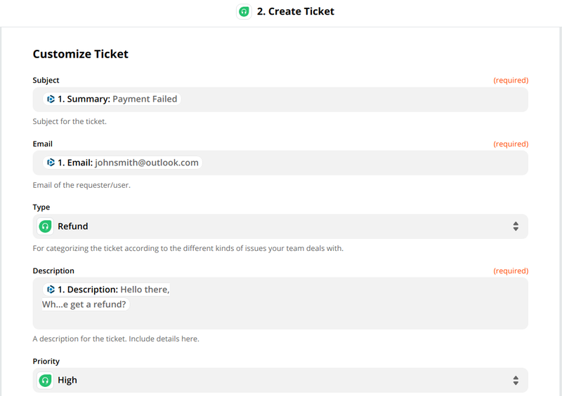 Your ticket is customized and Zap configuration completed