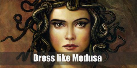 Medusa wears a black Greek-style gown and golden sandals. For accessories, she wears a golden arm cuff, golden earrings, and golden necklace.