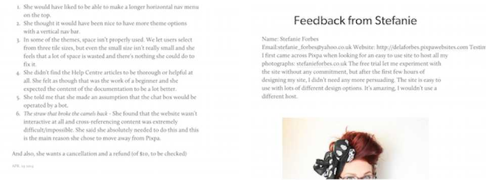 Screenshots of how the feedbacks looked in our blog