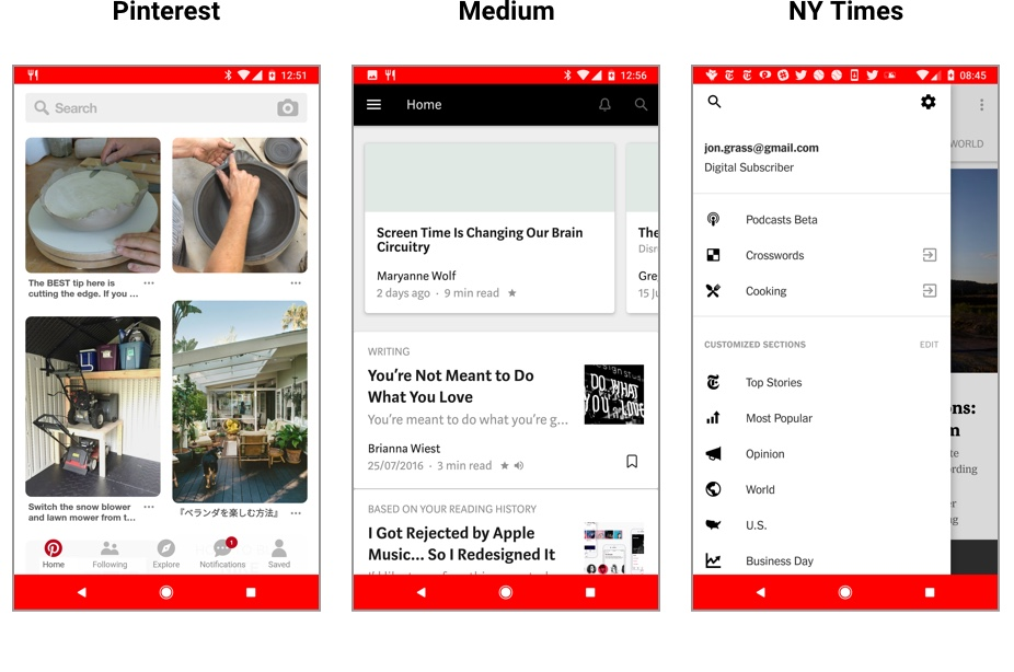 Screenshots of the Pinterest, Medium, and NY Times app user interfaces