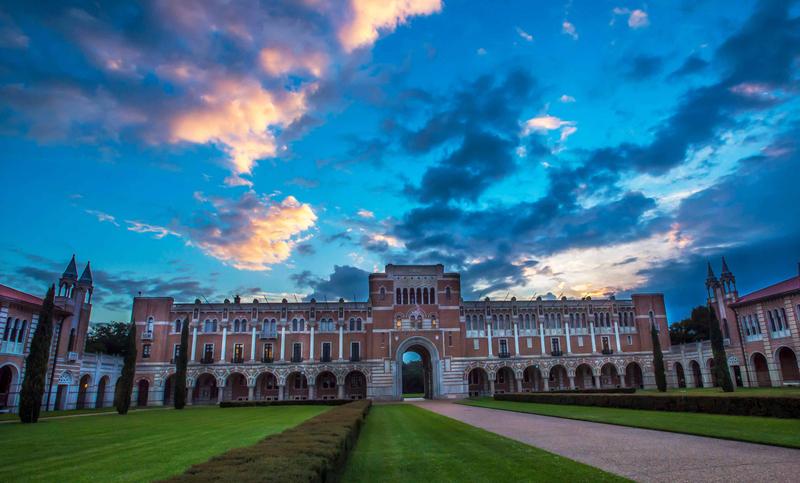 Front entrance of Lovett Hall on Rice University campus at sunrise