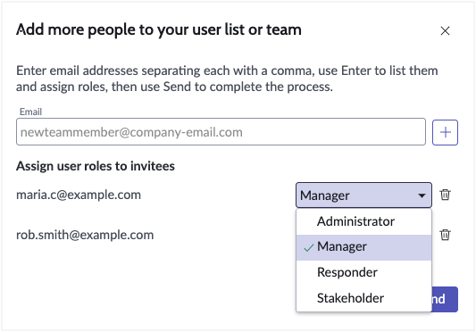 Select role for each user.
