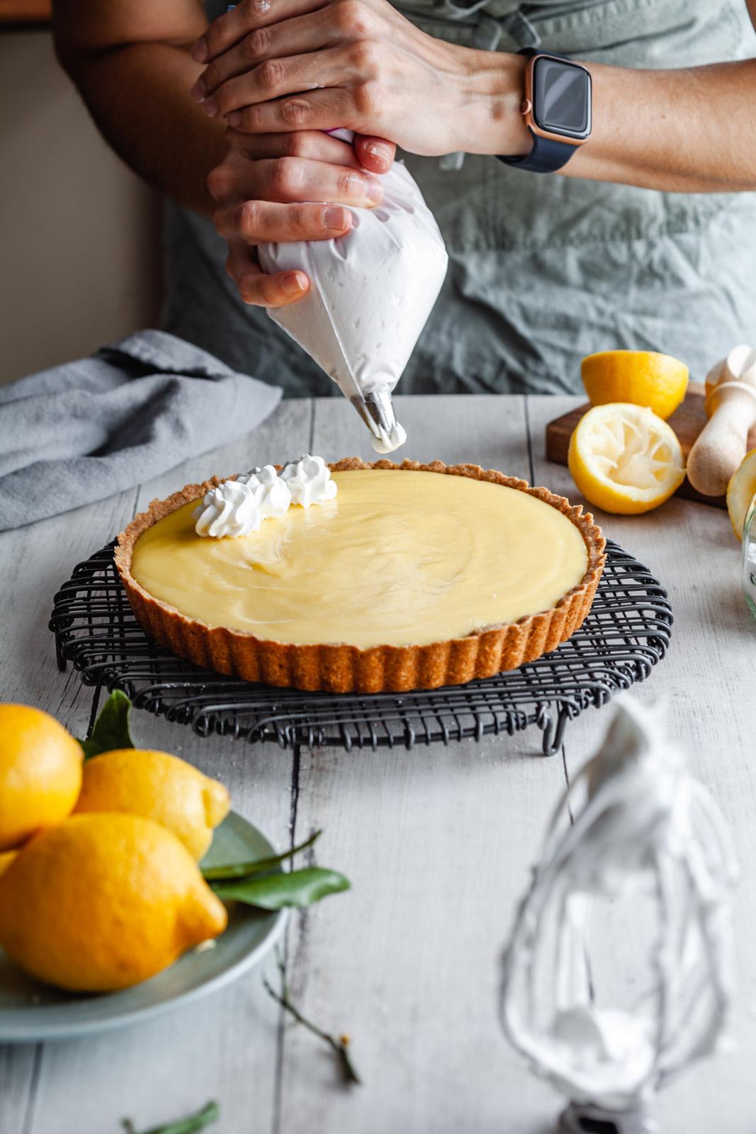 Gluten Free Lemon Custard Cream Tart With Swiss Meringue