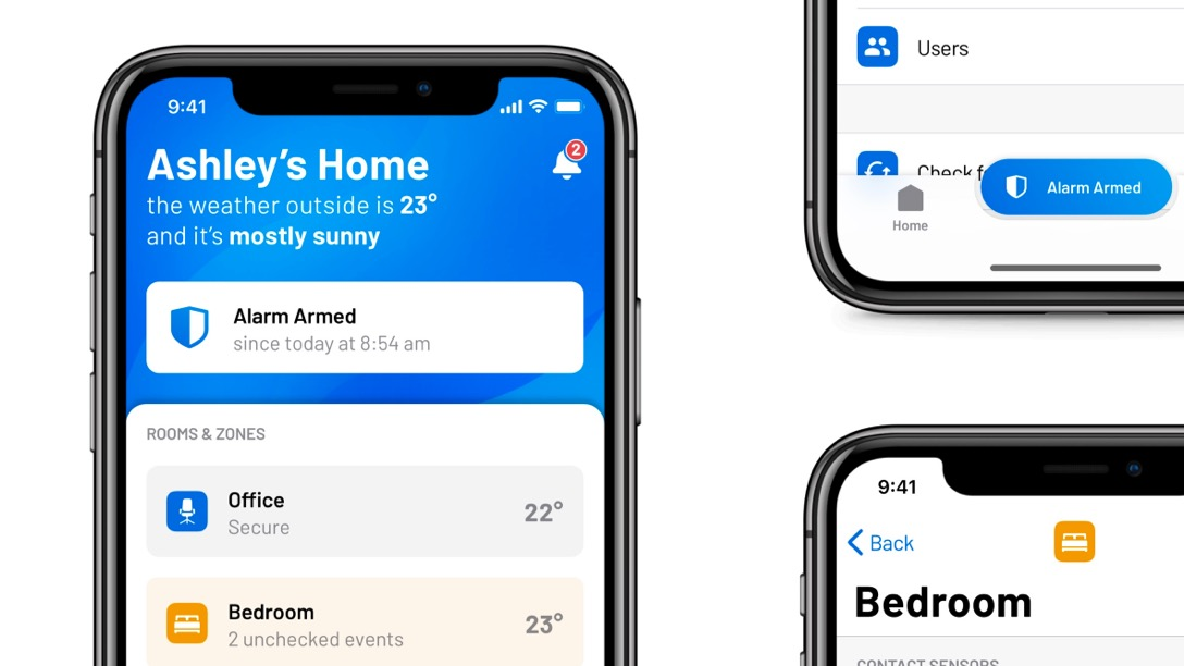 iOS and Android mobile app UX design for smart home (IOT) alarm system