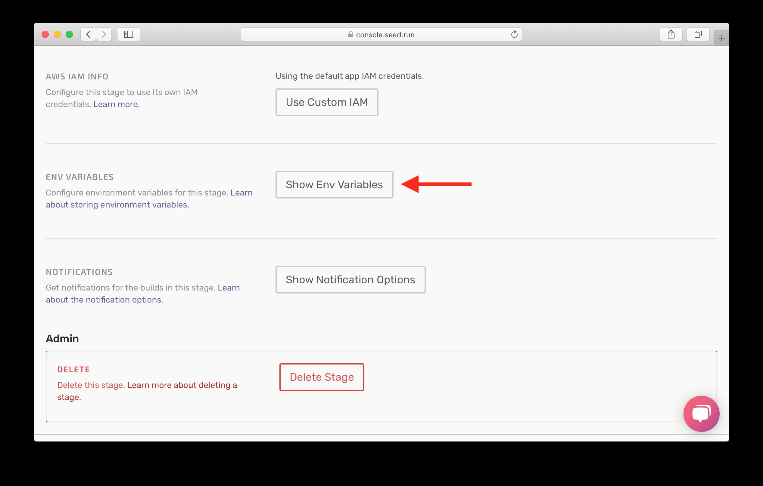 Show dev env variables settings screenshot