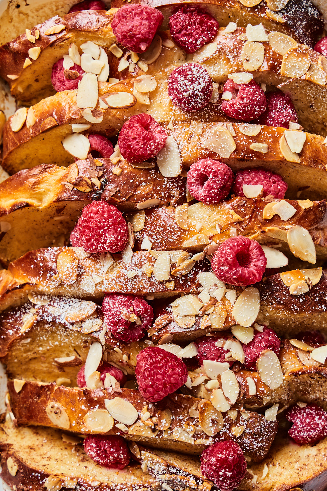 Baked Tsoureki French Toast with raspberries