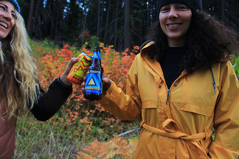 Erika Vikander the snowboarder enjoying beer with friends in the Pacific Northwest
