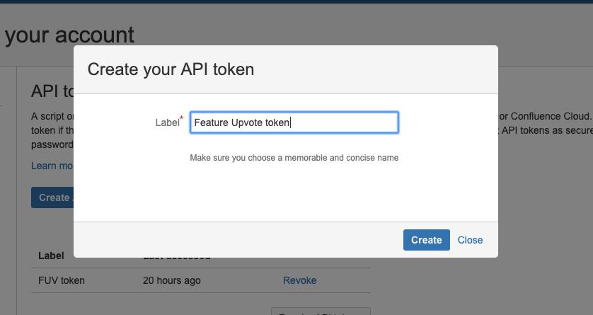 Screenshot of how to create a Jira API token