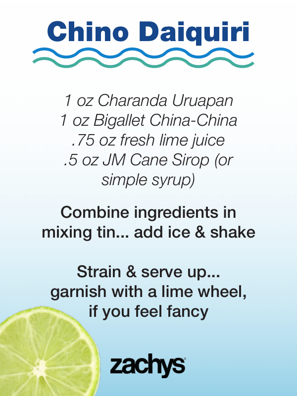 chino cocktail recipe card, on blue gradient with lime