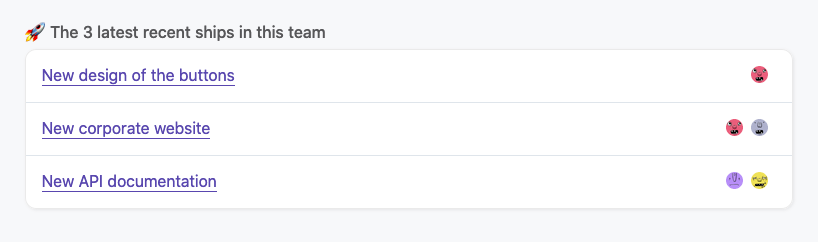 all the entries on dashboard team profile