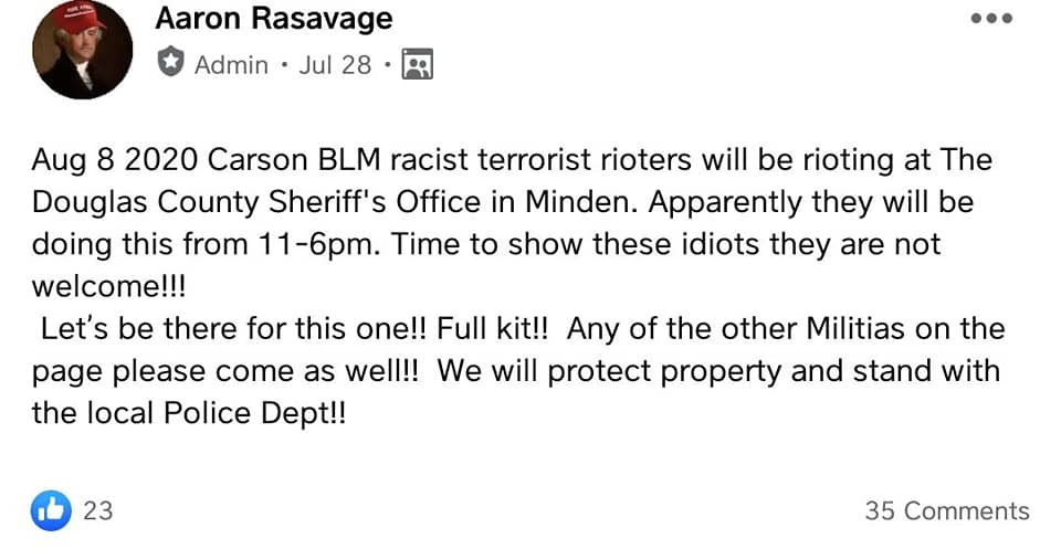 A militiaman named Aaron Rasavage calls Black Lives Matter activists terrorists and announces his group will confront them in 'full kit.'