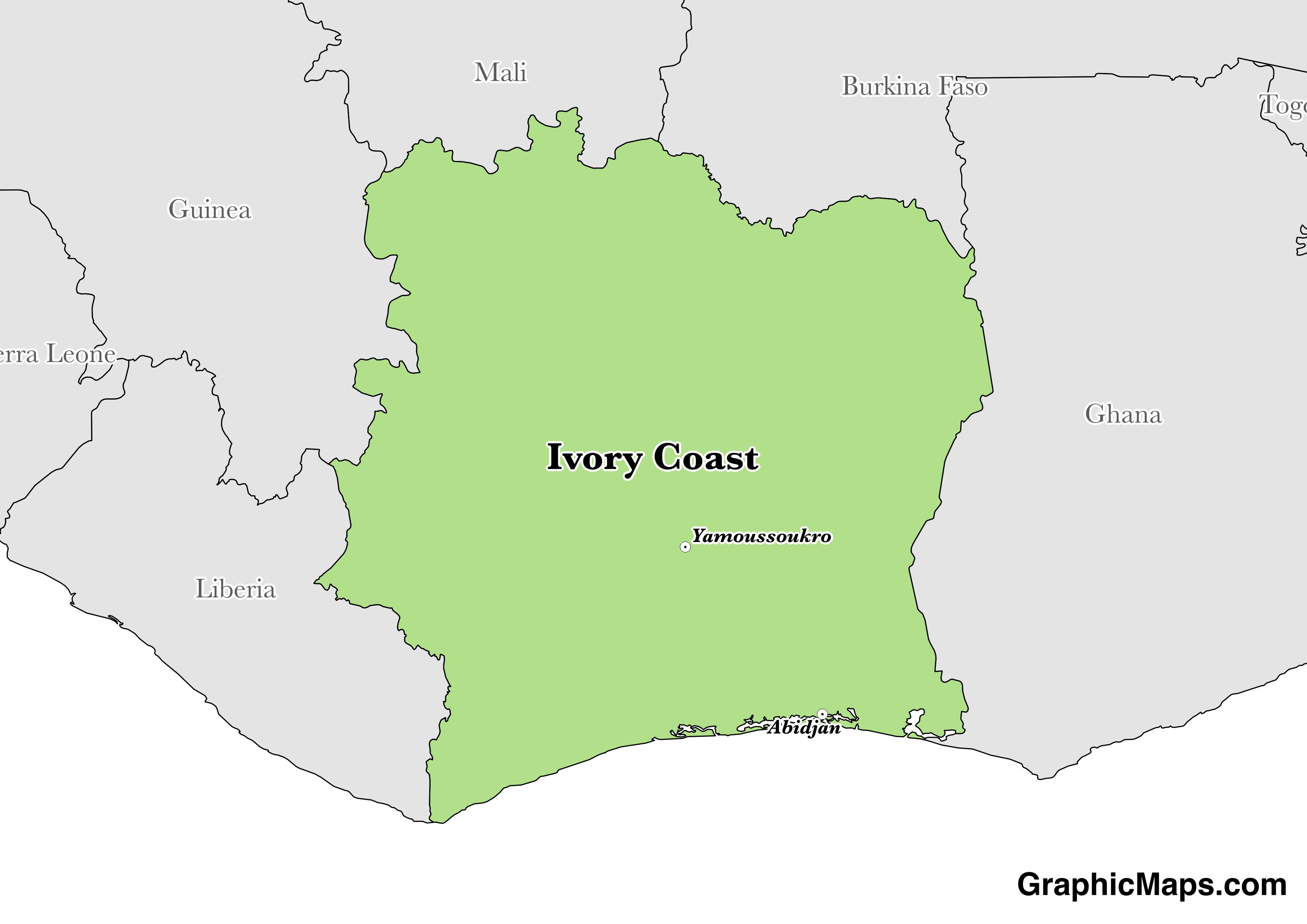 Map showing the location of Ivory Coast