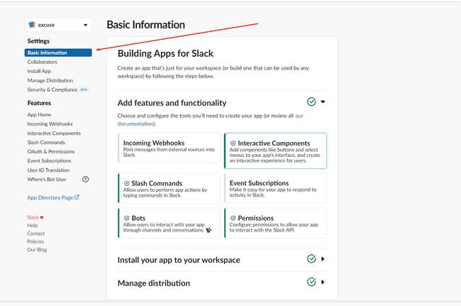 Slack app basic info