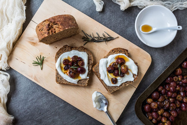 Homemade Labneh with roasted grapes
