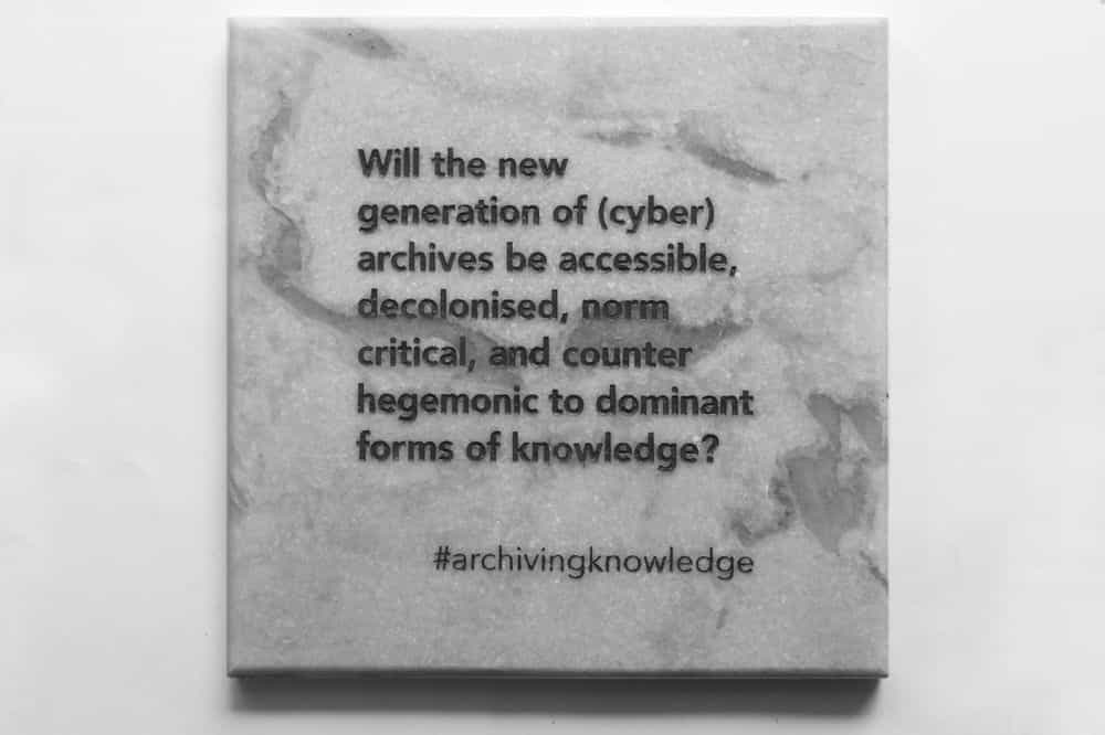 'Will the new generation of (cyber) archives be accessible, decolonised, norm critical, and counter hegemonic to dominant forms of knowledge?', From the series: Archiving Knowledge, hand engraved marble, 2018