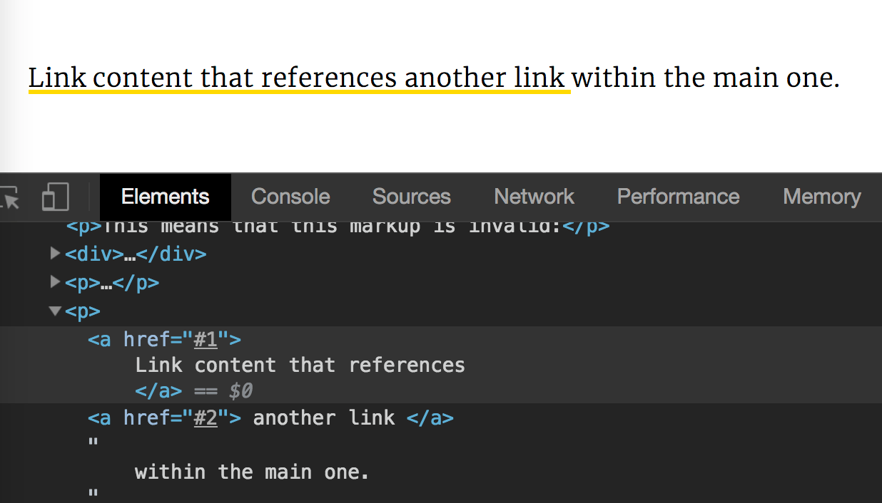 Screenshot of what the markup for our nested links looks like after being parsed by the browser.