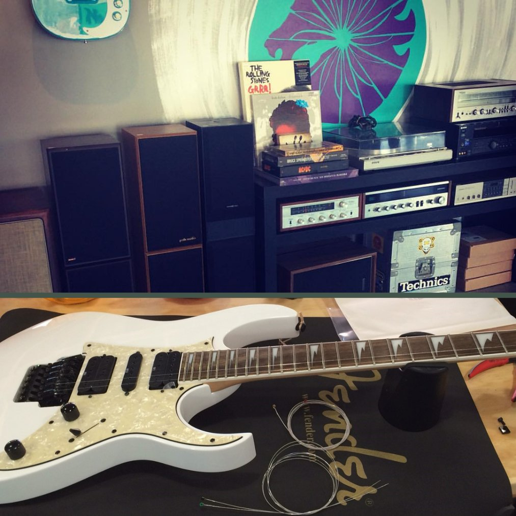 Top photo is Music Equipment, Speakers, & Amps. Bottom photo is electric guitar being re-wired