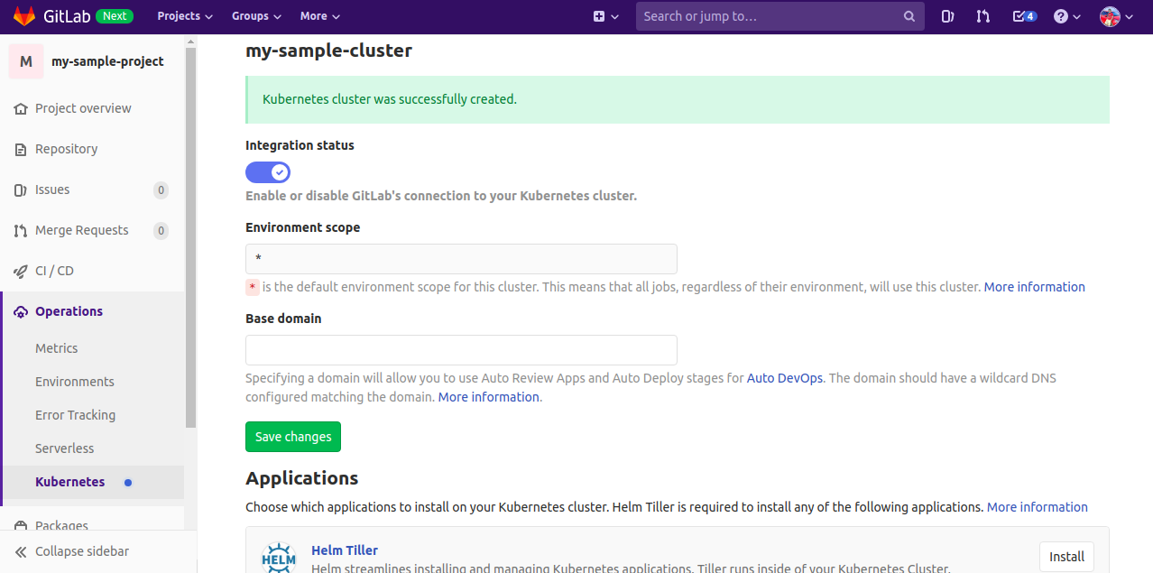 Create a repository and a GitLab Managed cluster steps
