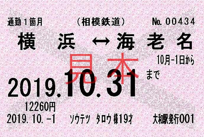 通勤定期乗車券 券面